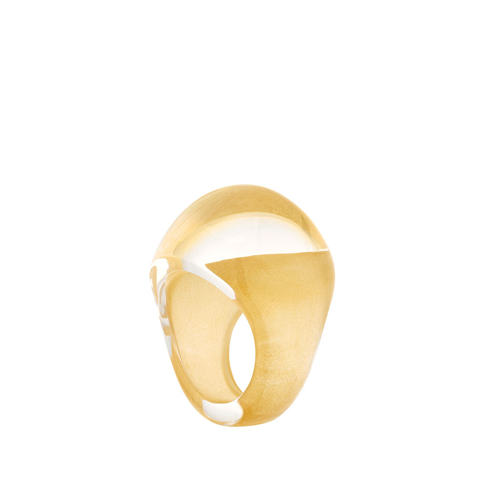 Cabochon ring | Clear with Yellow Patina crystal | Costume jewellery Lalique