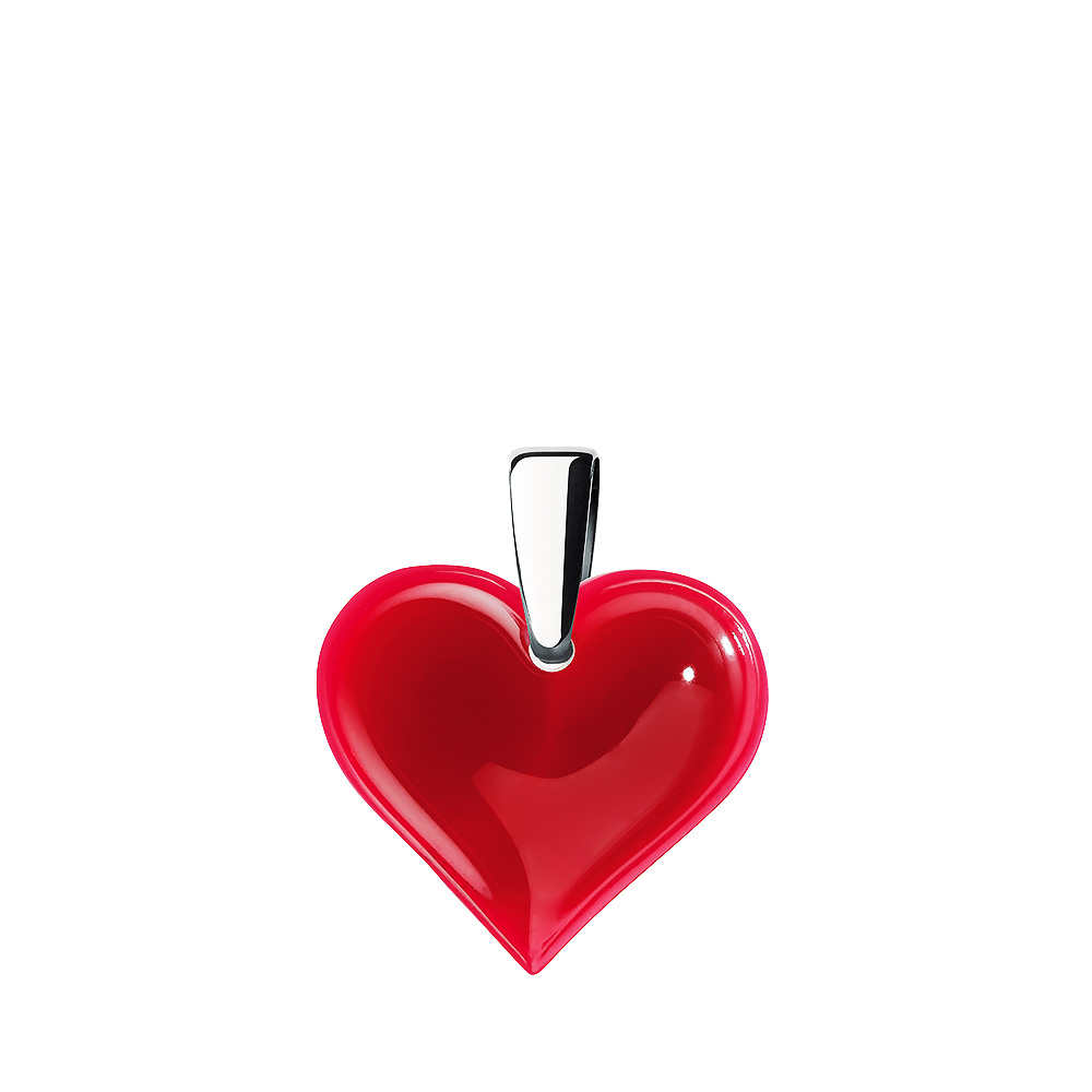 Amoureuse Beaucoup pendant | Red crystal, silver | Costume jewellery Lalique