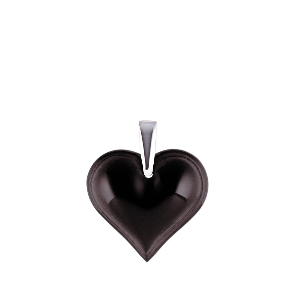 Amoureuse Beaucoup pendant | Black crystal, silver | Costume jewellery Lalique