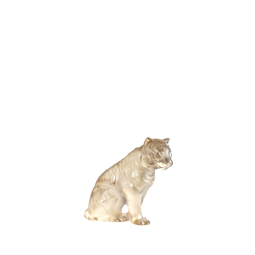 Sitting Tiger | Gold luster crystal, small size | Sculpture Lalique