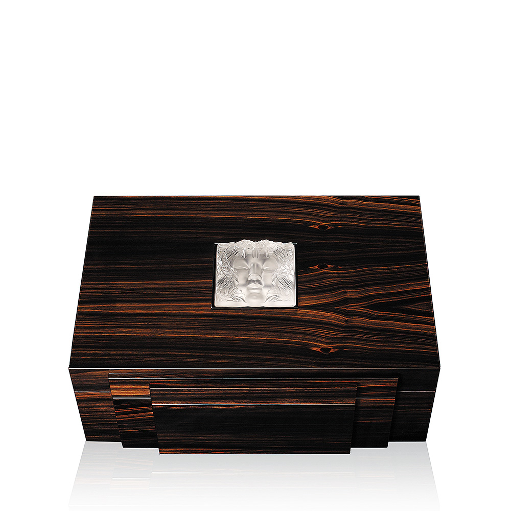 Masque de Femme cigars box   Numbered edition, natural ebony with clear crystal, 70 cigars   Cigars box Lalique
