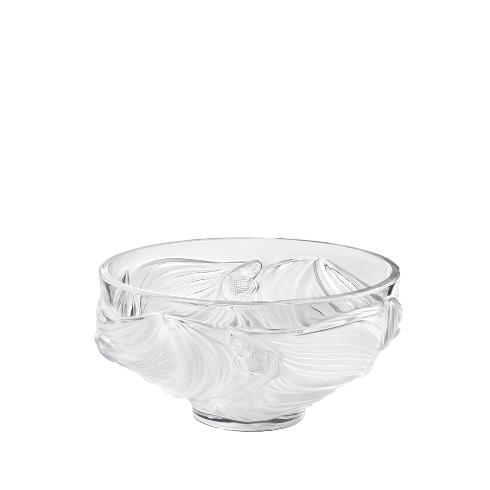 Poissons combattants bowl | Large size, clear crystal | Lalique crystal bowl