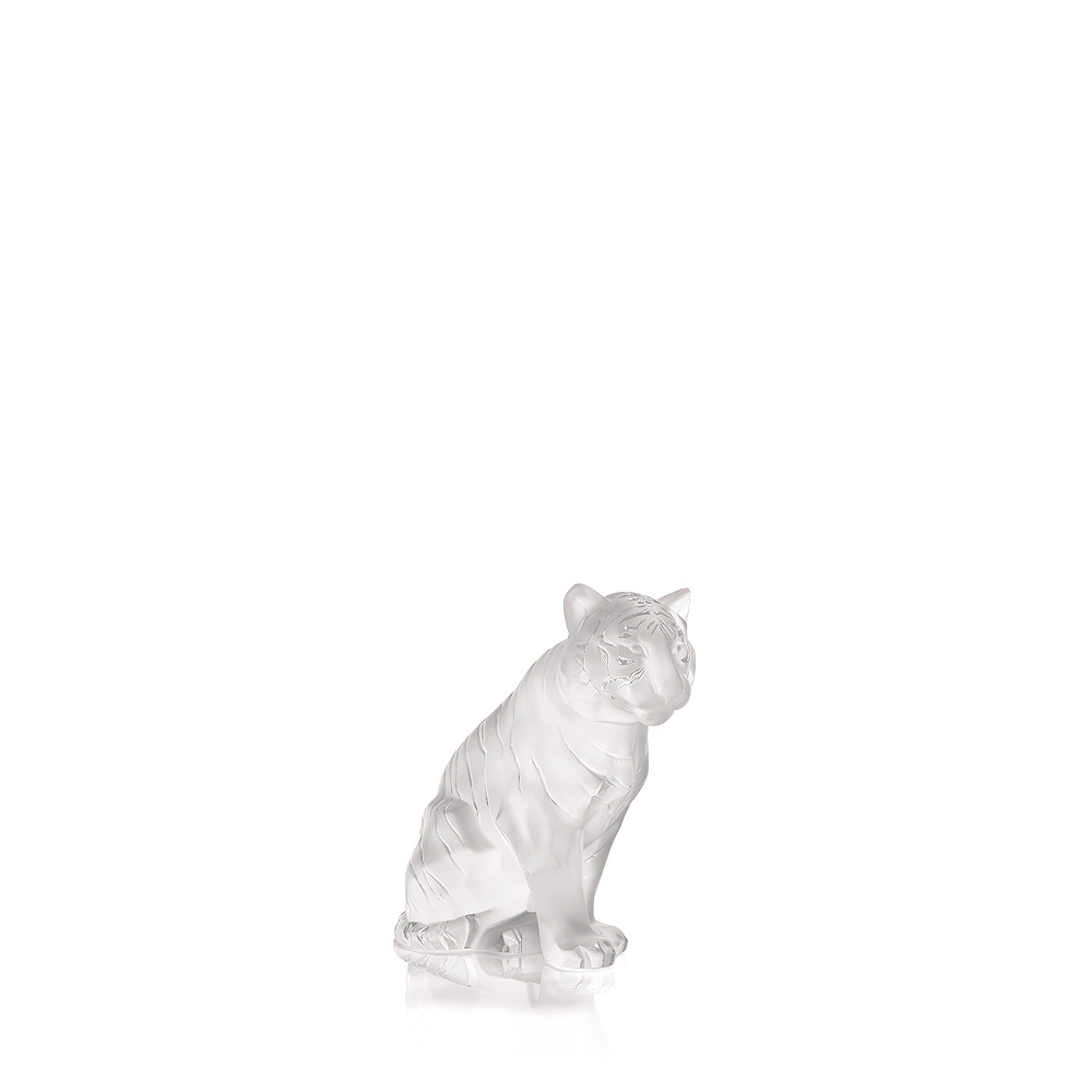 Sitting Tiger   Clear crystal, small size   Sculpture Lalique